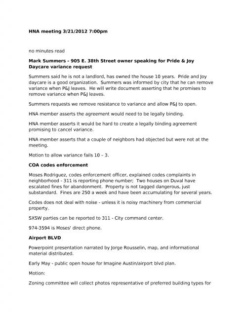 HNA Meeting Minutes for March 21, 2012