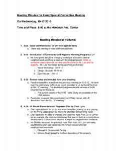 Meeting Minutes for Perry Special Committee Meeting - 10-17-12